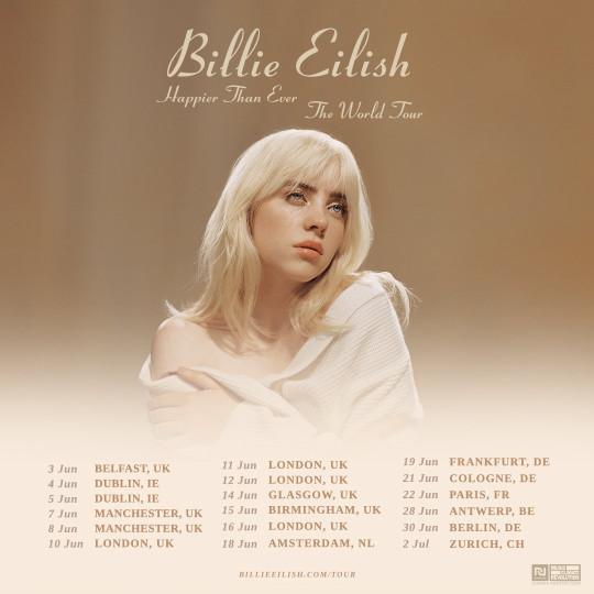 Póster de la etapa europea de la gira mundial Happier Than Ever de Billie Eilish