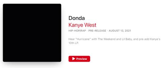 Álbum de Kanye West Donda en iTunes